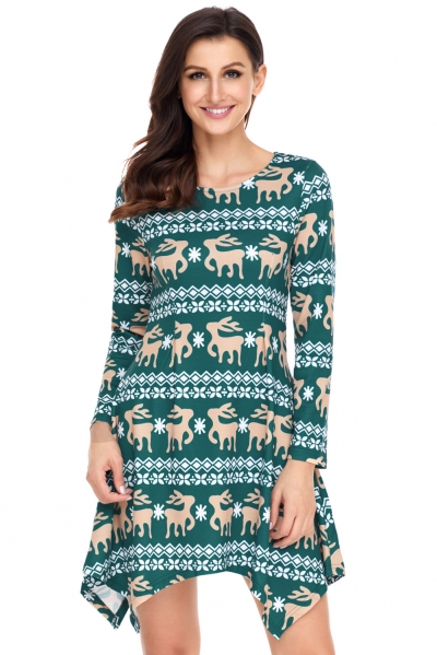 Cute Christmas Reindeer Print Green Swingy Mini Dress