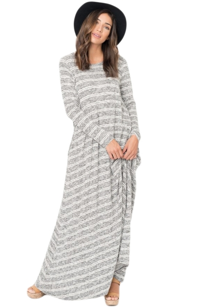 Black Striped Pocket Maxi Dress