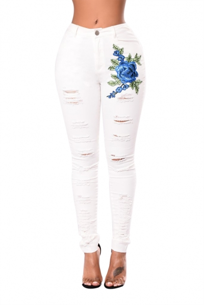 Blue Rose Embroidery Distressed White Skinny Jeans