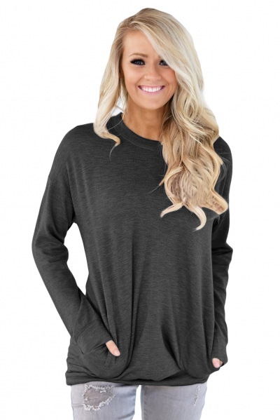 Black Casual Pocket Style Long Sleeve Top