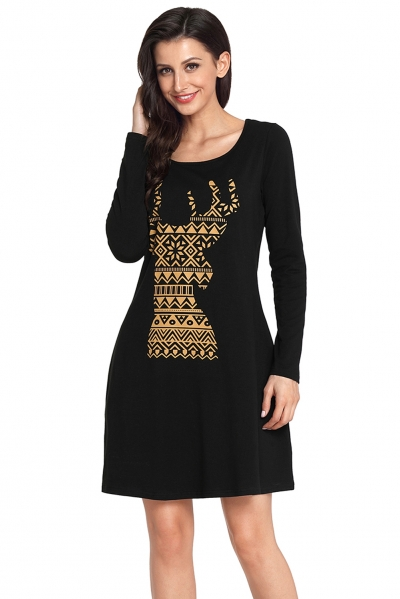 Geometric Snowflake Reindeer Black Christmas T-shirt Dress