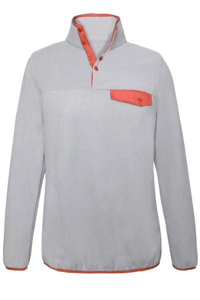 Orange Stand Collar Buttons Fleece Pullover Top