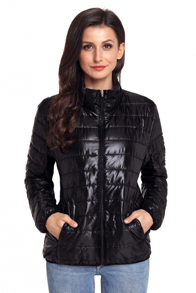 Black High Neck Quilted Cotton Jacket