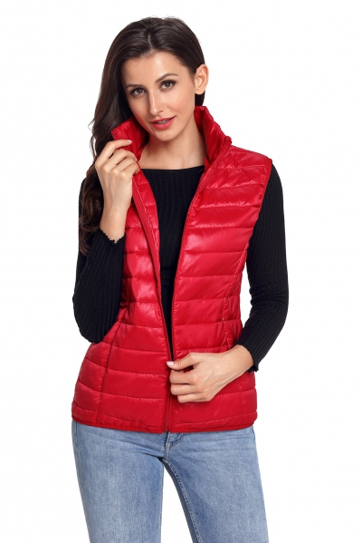 Red Quilted Cotton Down Vest