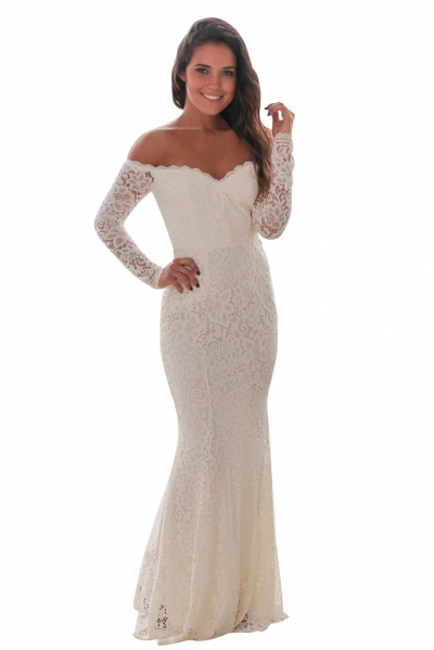 White Crochet Off Shoulder Maxi Evening Party Dress