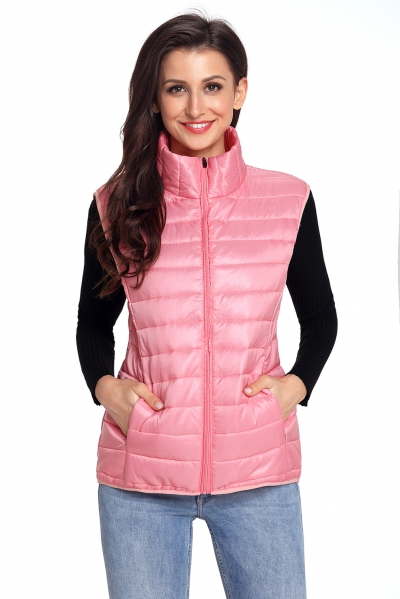 Pink Quilted Cotton Down Vest