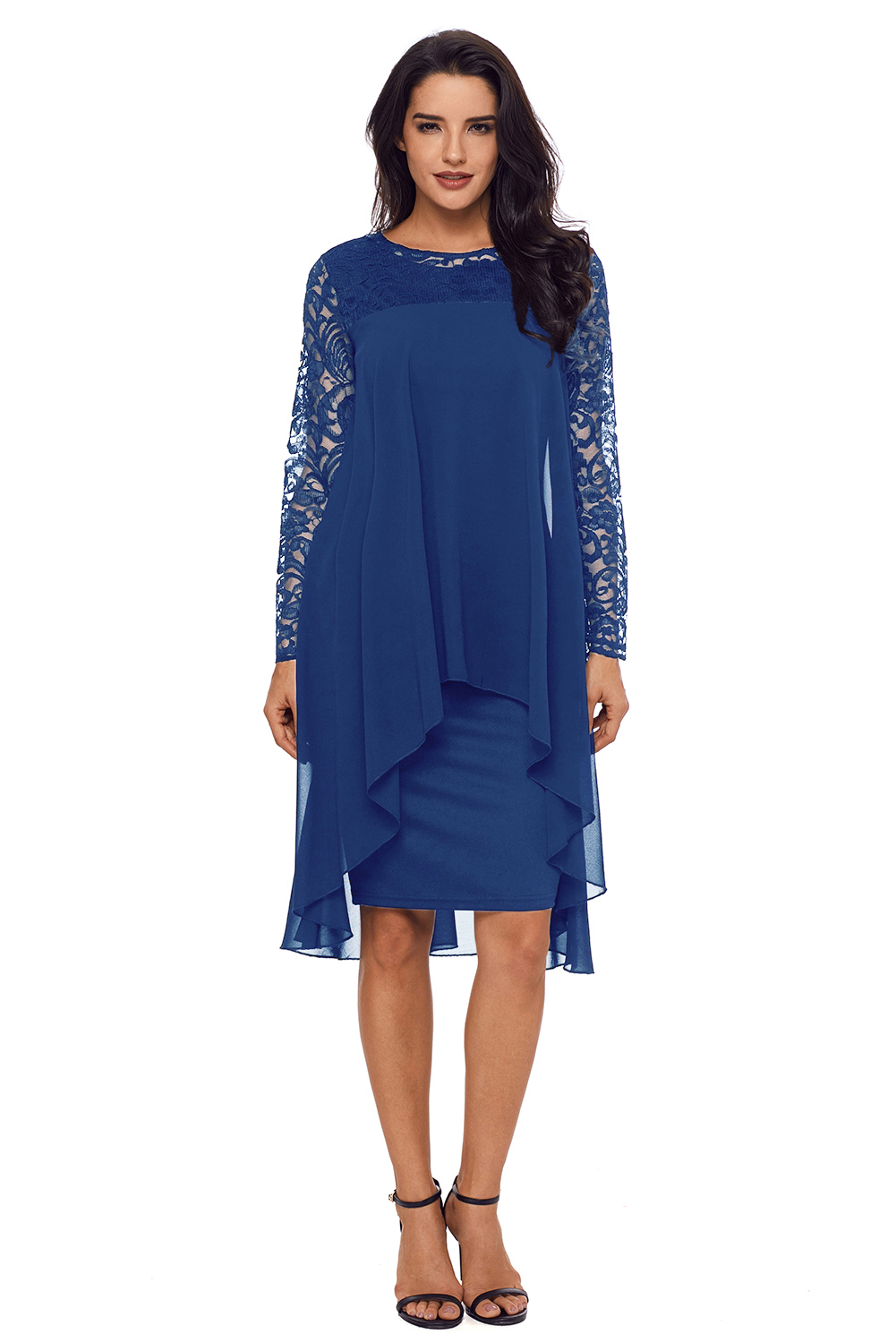 edf96857d2 Navy Blue Lace Long Sleeve Double Layer Midi Dress ZEKELA.com. Loading zoom