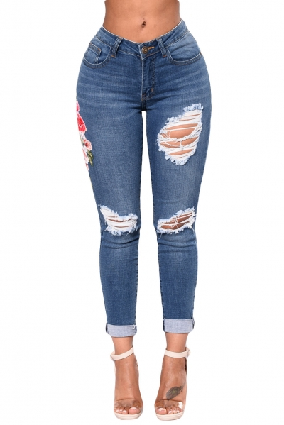 Light Blue Mid Rise Distressed Rose Embroidery Jeans