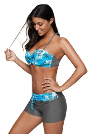 Light Blue Print Twist Front Bikini and Boardshort Swimsuit