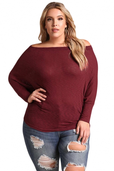Burgundy Plus Size Off Shoulder Ribbed Knit Top