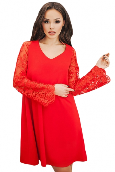 Red Sheer Floral Sleeve Swing Dress