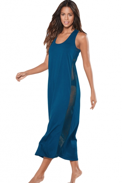 Blue Mesh Side Long Cover-up