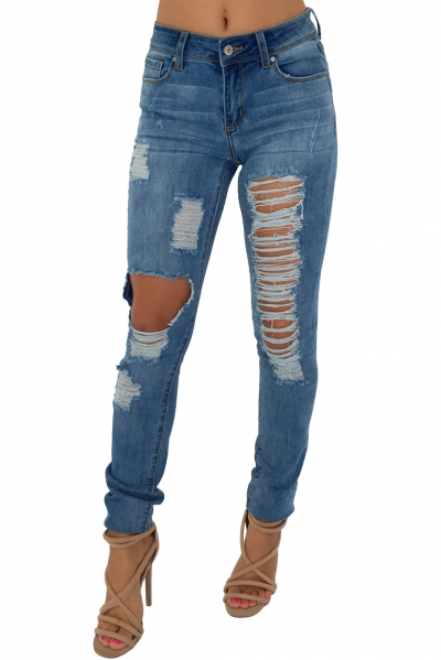Blue Wash Runaway Distressed Skinny Jeans