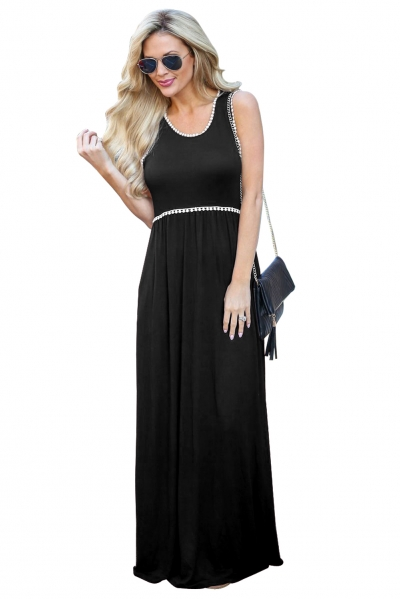 Crochet Pompom Trim Black Sleeveless Maxi Dress