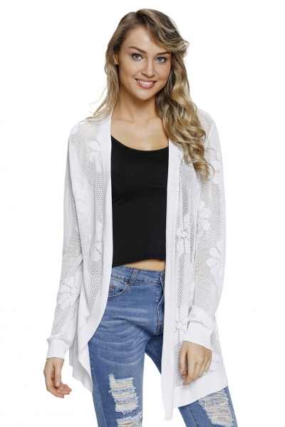 White Flowery Knit Sheer Hollowed Cardigan