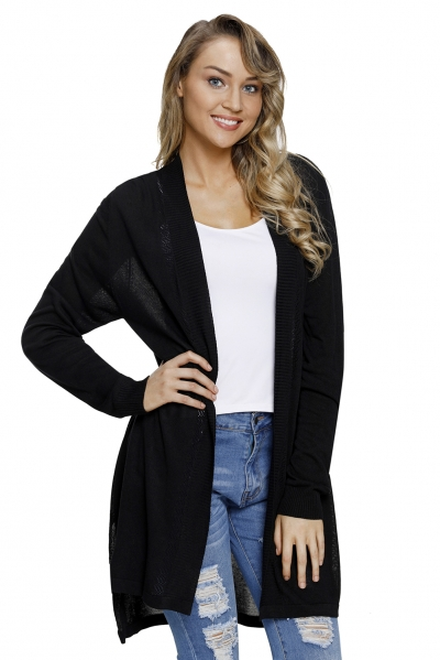 Black Ribbed Open Front Long Sleeve Cardigan