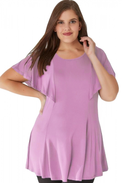 Purple Plus Size Peplum Top with Frill Angel Sleeves