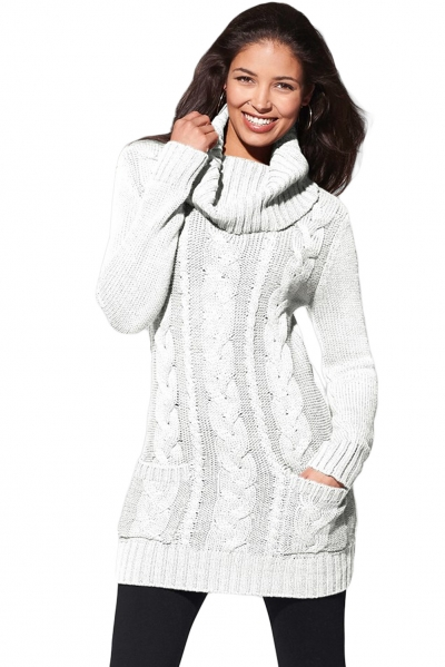 White Cowl Neck Cable Knit Sweater Dress