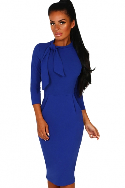 Royal Blue Pussy Bow Tie Vintage Midi Dress
