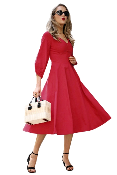 Red Button Front Balloon Sleeve Vintage Dress