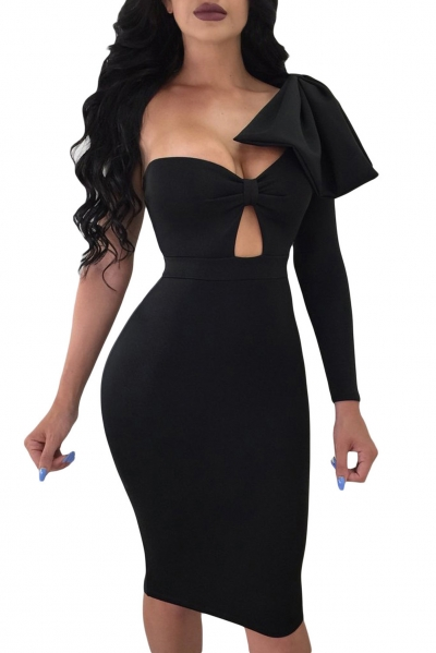 Black Big Bow On Shoulder Bodycon Nightclub Dress