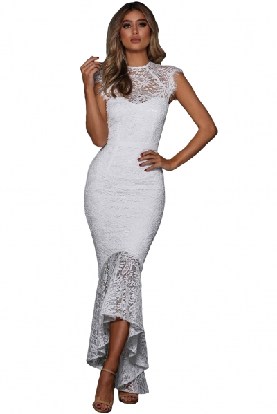 White Off-the-shoulder Patchwork Embroidered Mermaid Dress